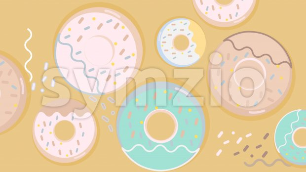 Colorful donuts set with sugar strands on beige background. Big and small size. Vector Stock Vector