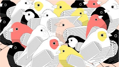 Colorful a lot of birds composition. Pink and yellow color. Beige background. Vector Stock Vector