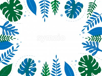 Colorful blue and green tropical leaves with dotted lines on background. Place for text in center Vector Stock Vector