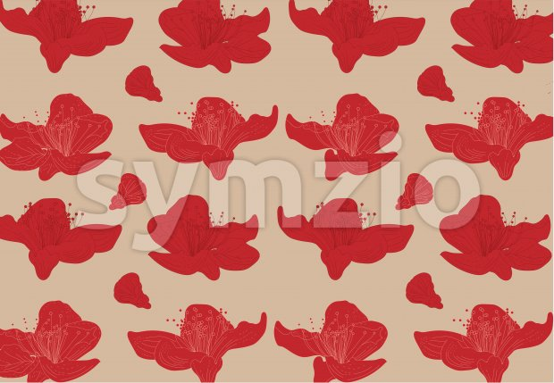 Vibrant red lily flowers on beige background. Vector Stock Vector