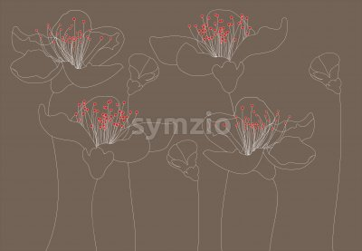 Line art outlined lily flowers with red carpels. Dark beige background. Vector Stock Vector