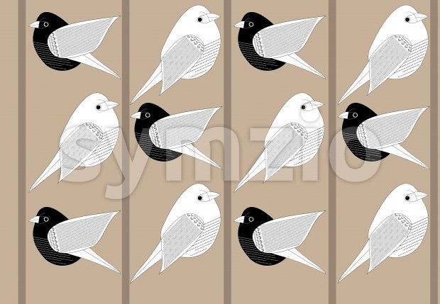 Black and white paper style birds on branches. Vector Stock Vector