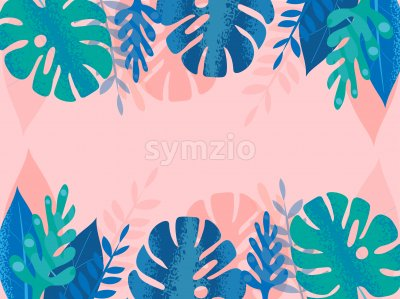 Colorful blue and green tropical leaves with dotted lines on pink background. Place for text in center Vector Stock Vector