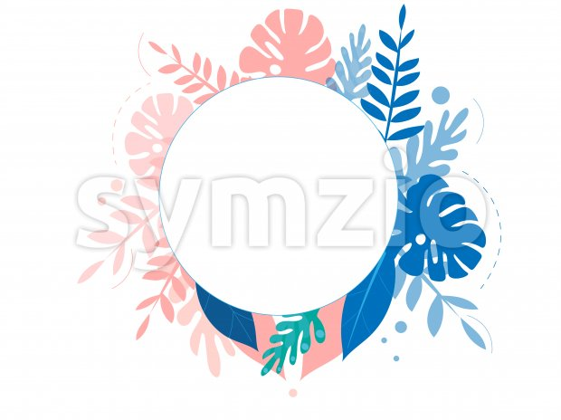 Colorful rose and blue tropical leaves with place for text. Vector Stock Vector