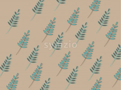 Turquoise tree leaves texture on beige background. Vector Stock Vector
