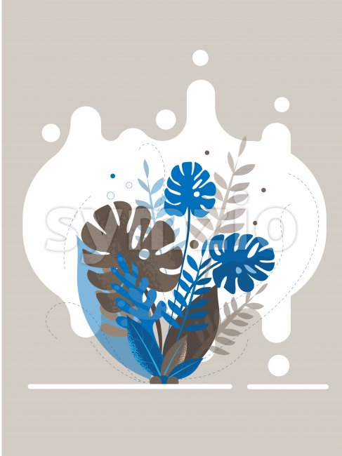 Colorful blue and gray tropical leaves with splashed background. Vector Stock Vector