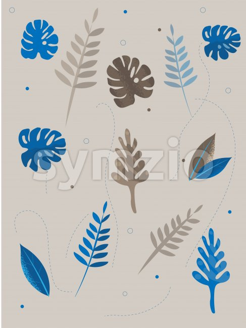 Colorful blue and gray tropical leaves with dotted lines on background. Vector