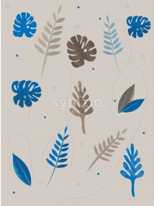 Colorful blue and gray tropical leaves with dotted lines on background. Vector Stock Vector