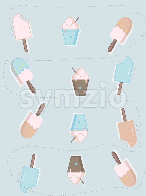 Flat style ice cream on stick and balls with spoon. Blue and rose background. Vector Stock Vector
