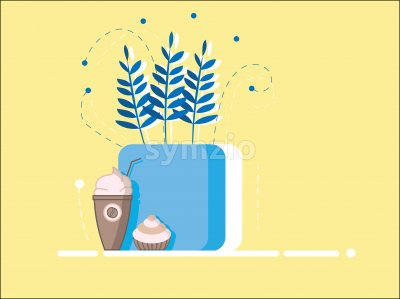 Flat style cup of coffee with whipped cream and cupcake. Blue flowers pot. Yellow background Stock Vector