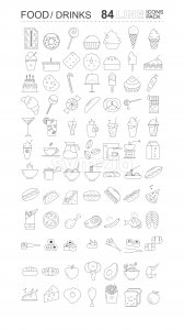Pack of food and drinks icons. Sweets, bread, coffee, meat, fish and vegetables Vector Stock Vector