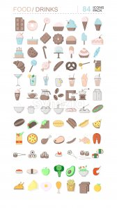 Colorful pack of food and drinks icons. Sweets, bread, coffee, meat, fish and vegetables. Vector Stock Vector