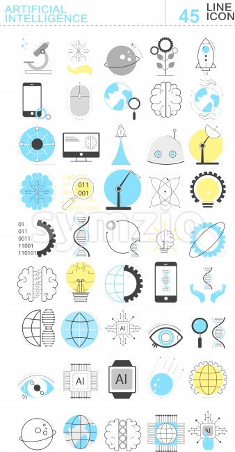 Set of artificial intelligence line icons. Rockets, mobile phone, gears, computer, codes and robots. Vector