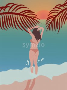 Girl relaxing at the beach, looking at ocean. Wearing swimsuit Stock Vector