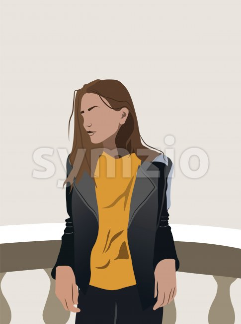 Young girl in yellow t-shirt and leather jacket leaning on ceramic railing. Vector