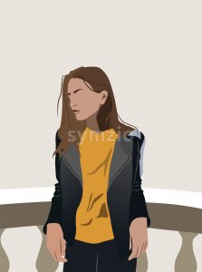 Young girl in yellow t-shirt and leather jacket leaning on ceramic railing. Vector Stock Vector