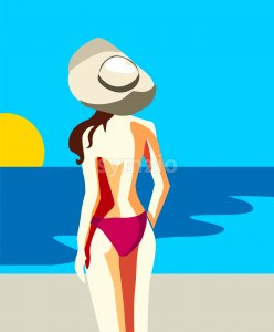Sexy young woman in pink swimsuit and hat staring at the sun and blue sea. Vector Stock Vector
