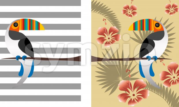 Toucan parrot bird with colorful beak. Tropical leaves composition with red flowers. Vector