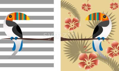 Toucan parrot bird with colorful beak. Tropical leaves composition with red flowers. Vector Stock Vector