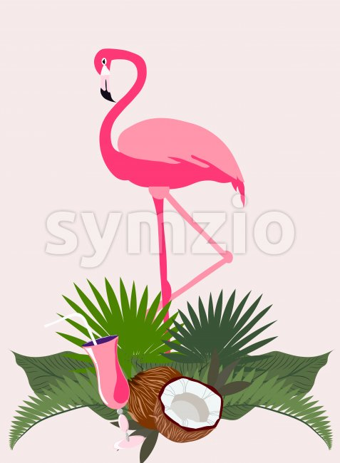 Pink flamingo bird in tropical leaves with coconut and cocktail. Vector Stock Vector