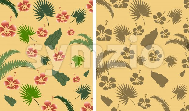 Tropical leaves composition with red flowers. Warm time. Vector