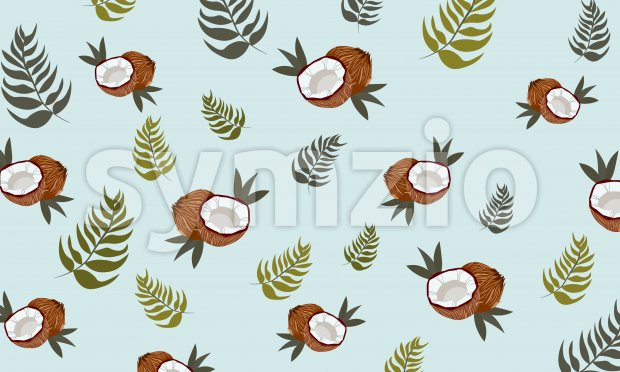 Coconut with leaves and blue background. Pattern. Vector Stock Vector