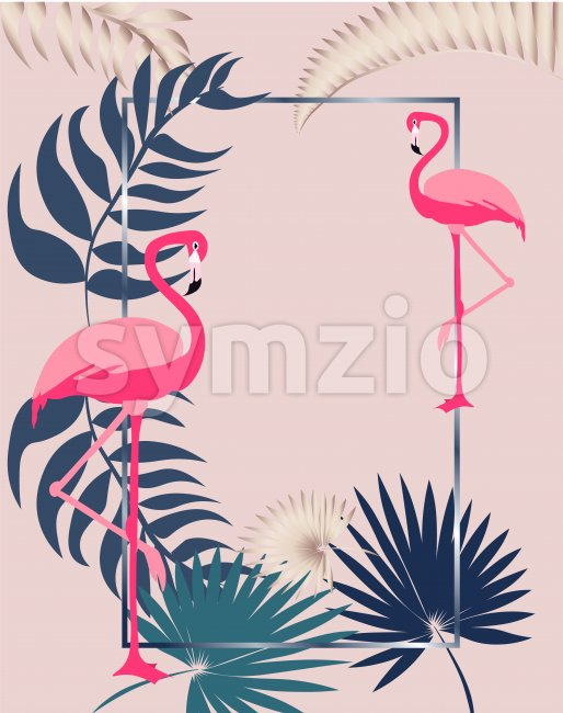 Pink flamingo greeting card with leaves and rectangle frame. Vector