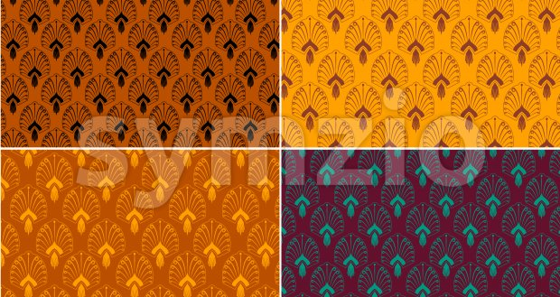 Pattern set with oriental decorations in different colors. Vector Stock Vector