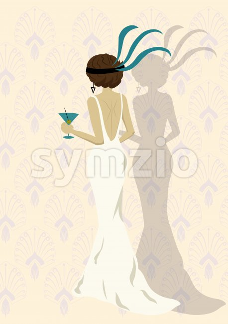 Elegant woman in a white dress holding a cup of martini. Oriental pattern on background. Vector Stock Vector