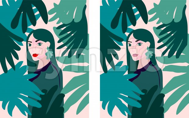 Lady with green earrings and outfit in a tropical forest full of leaves. Vector Stock Vector