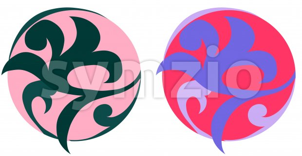 Oriental ornamented balls in pink and lavender color. Vector Stock Vector
