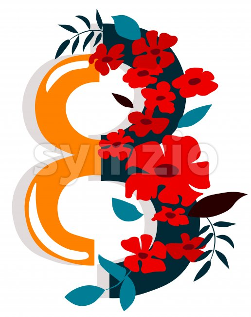 Number 8 ornamented with red flowers and leaves. Women's day. Vector Stock Vector