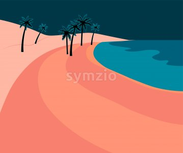 Pink romantic beach with palm trees and blue sea at dawn. Vector Stock Vector