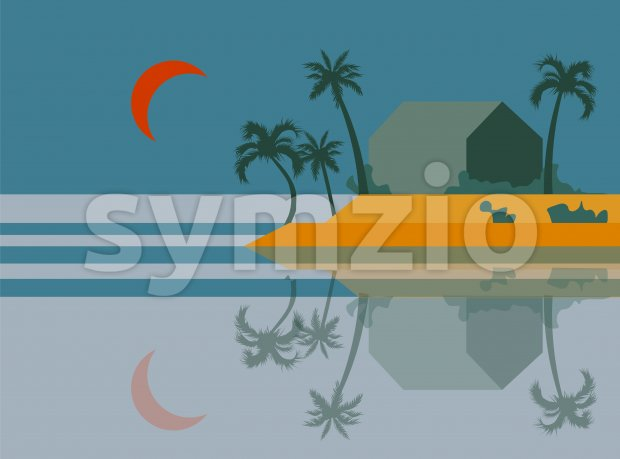 Beach at dawn with palm trees and orange moon in the sky. Island reflecting on water. Vector Stock Vector