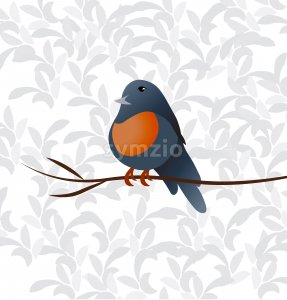 Little colorful orange and blue bird sitting on a thin branch. Vector Stock Vector