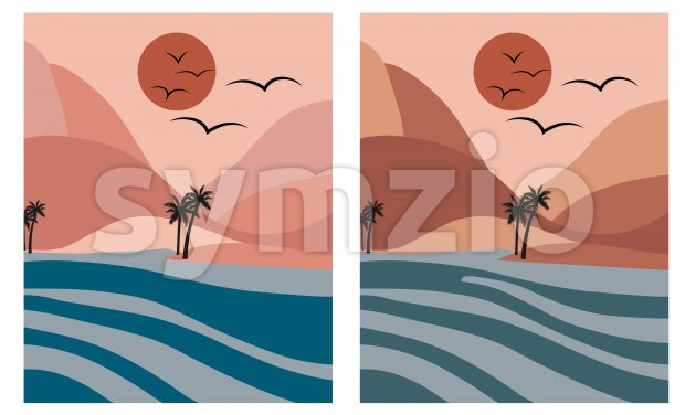 Pink romantic beach with palm trees and blue sea at dawn. Moon in the sky Vector