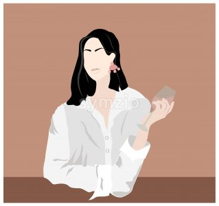 Elegant lady with glass of wine in hands. Wearing shirt and earrings. Beige background. Vector Stock Vector