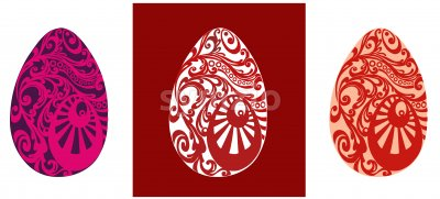 Easter eggs with red and pink oriental ornaments. Vector Stock Vector