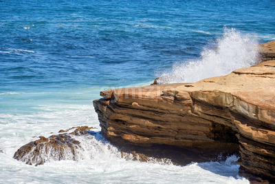 Rocky coast of the Pacific ocean in San Diego, USA Stock Photo