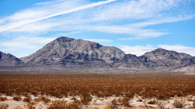 Plain with bushes, hills on the background in Nevada, USA Stock Photo