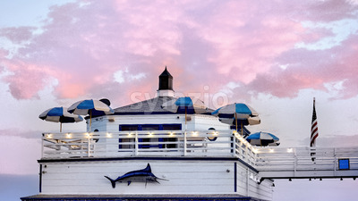 MALIBU, USA - SEPTEMBER 26, 2019: Shops and restaurants on the pier at sunset Stock Photo