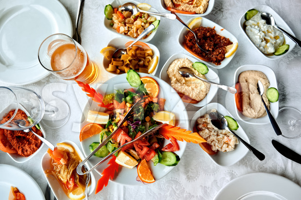Table full of exotic food in Cyprus Stock Photo
