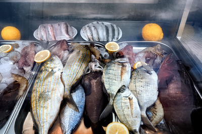 Fresh marine products selling in Girne, Cyprus Stock Photo