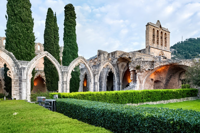 Ruins in the Bellapais Abbey monastery in Northern Cyprus Stock Photo