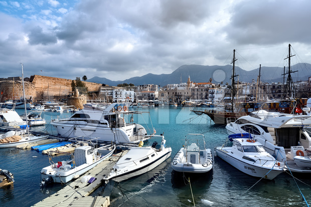 GIRNE, CYPRUS - FEBRUARY 15, 2020: Lots of moored boats and yachts in Kyrenia harbour Stock Photo