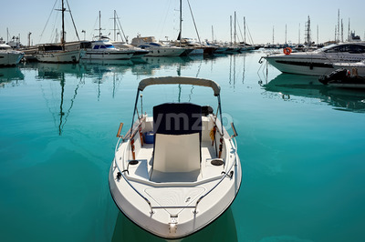 Moored yachts and boat in the wharf of Limassol, Cyprus Stock Photo