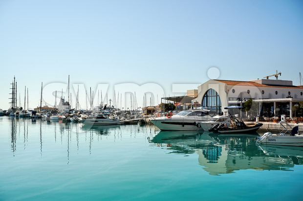 LIMASSOL, CYPRUS - FEBRUARY 17, 2020: Moored yachts in the wharf Stock Photo