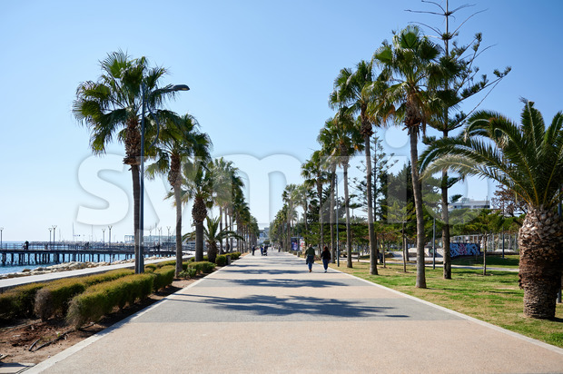 LIMASSOL, CYPRUS - FEBRUARY 17, 2020: Embankment street with walking people and rows of palms growing along