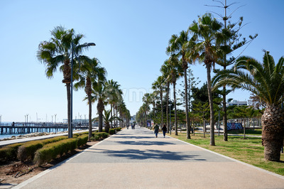 LIMASSOL, CYPRUS - FEBRUARY 17, 2020: Embankment street with walking people and rows of palms growing along Stock Photo