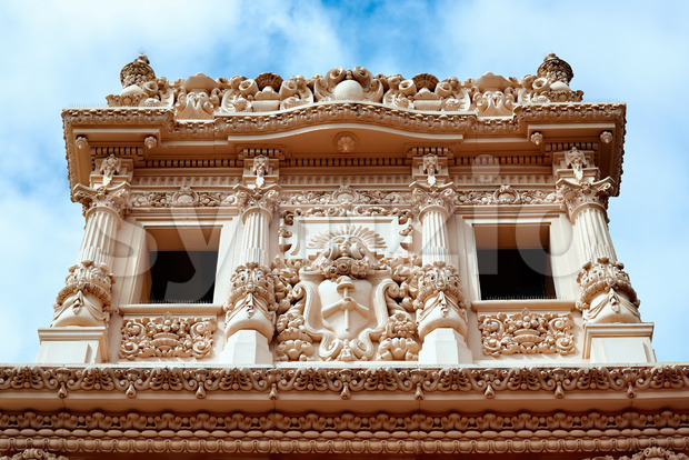 Facade of an aged building full of moldings in Balboa Park, San Diego Stock Photo